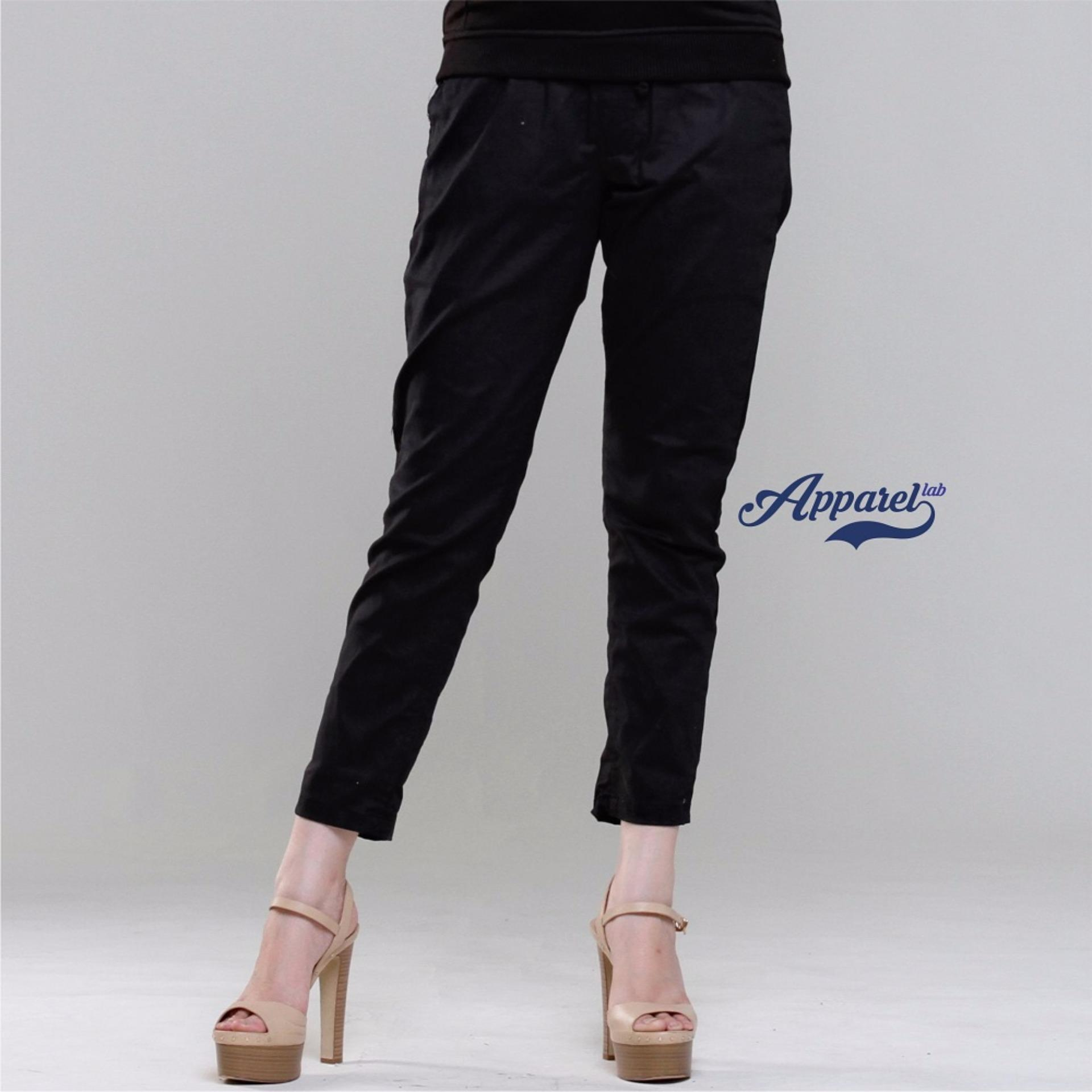 Beli Pinggang Karet Apparel Lab Women Chino Pants Black Apparel Lab Asli